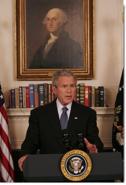 President George W. Bush addresses reporters Thursday, May 1, 2008 in White House Diplomatic Reception Room, to ask Congress to provide an additional $770 million to support food aid and development programs. The $770 million would be in addition to the $200 million in emergency food aid announced by the White House two weeks ago to be available through a program at the U.S. Agricultural Department called the Emerson Trust. White House photo by Joyce N. Boghosian