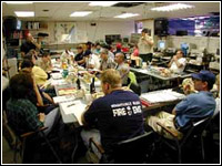 Crews from all local county and cities man the (New Hanover) County Emergency Operations Center in Wilmington