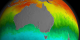 This animation shows a 32-day moving average of SST data around the world and around Australia.  This data continuously loops from July 4, 2002 to October 23, 2006.