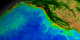 This animation begins with a wide shot of the United States and zooms down to the Western seaboard of the United States while cycling through nearly ten years of SeaWiFS biosphere data.