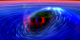 This animation zooms into a black hole and accretion disk showing how the spinning black hole drags spacetime around with it.