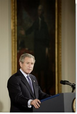 """President George W. Bush discusses his immigration policy in the East Room Wednesday, Jan. 7, 2004. """"We must make our immigration laws more rational, and more humane. And I believe we can do so without jeopardizing the livelihoods of American citizens,"""" said President Bush.  White House photo by Paul Morse"""