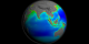 A print resolution picture of SeaWiFS ocean chlorophyll concentration decadal average over Asia and Australia.
