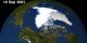 Arctic sea ice from 01 Aug 2007 to 19 Sept 2007