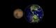 Still image comparing true color Mars to true color Earth
