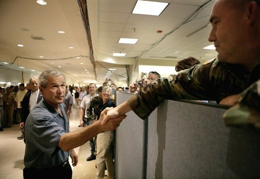 President George W. Bush thanks emergency personnel inside the FEMA Joint Field Office in Baton Rouge, Louisiana, Sunday, Sept. 25, 2005. White House photo by Eric Draper