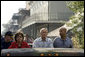 President George W. Bush tours a hurricane ravaged neighborhood of New Orleans, La., from the back of a truck with Gov. Kathleen Blanco and Mayor C. Ray Nagin, Monday, Sept. 12, 2005. White House photo by Paul Morse