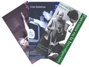 Portada de tres publicaciones del NINDS: Enfermedad de Parkinson, Crisis Epilépticas y Esclerosis Múltiple