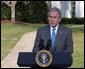 "President George W. Bush delivers a statement on FISA, the Foreign Intelligence Surveillance Act, Thursday, March 13, 2008, on the South Drive of the White House. In urging Congress to act, the President said, ""The American people understand the stakes in this struggle. They want their children to be safe from terror. Congress has done little in the three weeks since the last recess, and they should not leave for their Easter recess without getting the Senate bill to my desk.""  White House photo by Chris Greenberg"