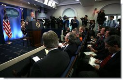 President George W. Bush responds to a question during a morning press conference in the James S. Brady Press Briefing Room of the White House. White House photo by Joyce N. Boghosian