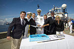 Cutting the cake at the commissioning ceremony