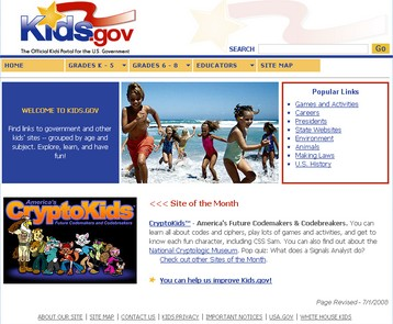 Kids dot gov web site