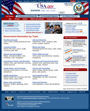 Image of USA.gov home page