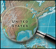 Magnifying glass over map of the United States