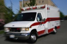 Photograph of an ambulance driving