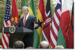 """President George W. Bush delivers remarks during a ceremony marking Malaria Awareness Day Wednesday, April 25, 2007, in the Rose Garden. """"Today, citizens around the world are making a historic commitment to end malaria. In European capitals, parliaments are debating how their governments can help. In Ontario, Canadians are commemorating their first World Malaria Day by raising money for bed nets for Uganda,"""" said President Bush. """"Across the continent of Africa, people are teaching their families, friends, and neighbors how to protect themselves from this deadly disease.""""  White House photo by Eric Draper"""
