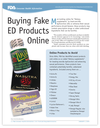 Cover page of PDF version of this article, including photos of fake ED drugs
