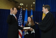 Deputy Secretary Troy takes the oath of office, administered by Judge Brett M. Kavanaugh of the U.S. Court of Appeals for the District of Columbia Circuit, at HHS Headquarters in Washington, D.C., November 15, 2007.