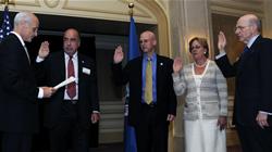 Arthur Kassel, Dr. Gary Shiffman, Emily Walker and Maurice Sonnenberg are sworn in by Secretary Chertoff on June 25, 2008.