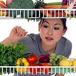 woman looking at fruits and vegetables