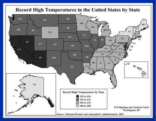Map of record high temeratures in the united states by state