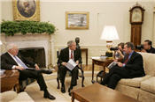 Secretary Leavitt meets with President Bush to discuss the Interagency Working Group on Import Safety's initial report
