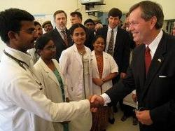 Secretary  Leavitt travels to India where he and the Commissioner of the HHS Food and Drug Administration, the Honorable Andrew von Eschenbach,  M.D., paid a series of visits to senior Indian Government officials to emphasize the theme of product safety and championed  the eradication of polio.