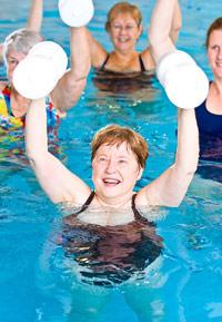 photo of women exercising in swimming pool