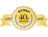 Logo that says SCSEP Training Older Workers, 40th Anniversary,  1965 to 2005