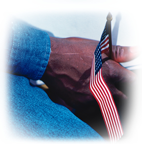 Photo of a hand with a US flag