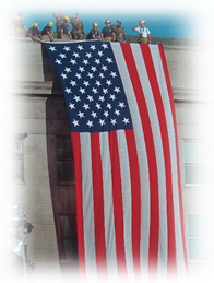 Photo: Placing U.S. Flag over the Pentagon