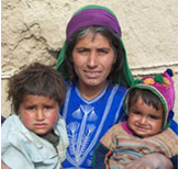 Mother and two young children, photo.