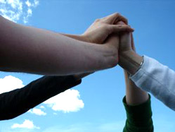 Group of hands showing teamwork