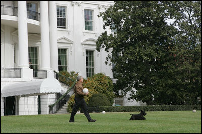 Barney leads the way as President George W. Bush carries Barney's favorite soccer ball out to play on the South Lawn of the White House, Sunday, Nov. 25, 2007.