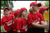 Members of the Luray, Virginia Red Wings watch from the bench Wednesday, June 27, 2007, during the first White House Tee Ball Game of the 2007 season as they go against the Bobcats from Cumberland, Maryland, on the South Lawn of the White House.