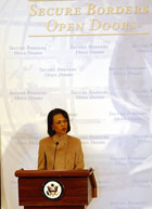 Secretary Rice speaks at joint public announcement of Rice-Chertoff Joint Vision: Secure Borders and Open Doors in the Information Age.