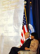 Secretary Rice and Homeland Security Secretary Michael Chertoff at announcement of joint vision to enhance border security while streamlining security processes and facilitating travel for visitors to the United States.