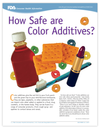 Cover page of PDF version of this article, including photos of cough syrup, lipstick, toothpaste, crackers and pieces of colorful cereal.