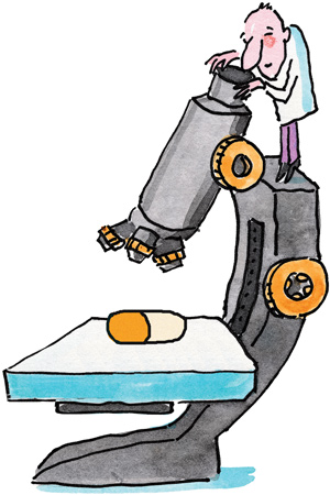 cartoon illusration of a man in lab coat standing on oversized microscope looking at an oversized pill.