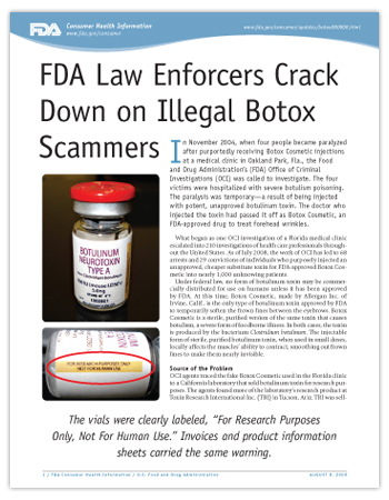 Cover page of PDF version of this article, including photo of botox vial with close up on label stating for research purposes only, not for human use.