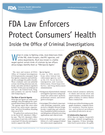 Cover page of PDF version of this article, including close up photo of the FDA Office of Criminal Investigation badge.