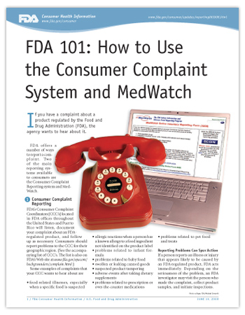 Cover page of PDF version of this article, including photo of a telelphone and a laptop with the MedWatch reporting page on the screen.