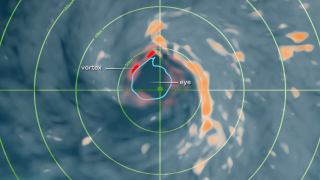 The eye of the storm is shown in blue and vorticity in red.