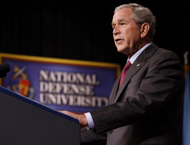 """President George W. Bush delivers remarks Tuesday, Sept. 9, 2008, to the National Defense University's Distinguished Lecture Program. Said the President, """"On this campus you're helping train the next generation of military and civilian leaders who will defend our nation against the real and true threats of the 21st century. I thank you for your patriotism; I thank you for your hard work; and I thank you for your devotion to protecting the American people."""" White House photo by Eric Draper"""