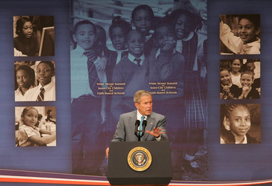 """President George W. Bush delivers remarks Thursday, April 24, 2008, during the White House Summit on Inner-City Children and Faith-Based Schools. Said the President, """"I am fully aware that in inner-city America some children are getting a good education, but a lot are consigned to inadequate schools. I believe helping these children should be a priority of a nation. It's certainly a priority to me."""" White House photo by Chris Greenberg"""