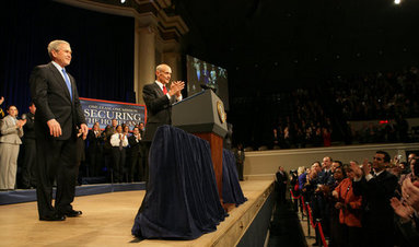 President George W. Bush acknowledges the audience as he's introduced by Secretary Michael Chertoff at Constitution Hall during a ceremony Thursday, March 6, 2008, to mark the 5th anniversary of the U.S. Department of Homeland Security. White House photo by Chris Greenberg