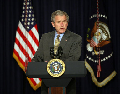 President George W. Bush delivers remarks on the Columbian Free Trade Agreement Monday, April 7, 2008, in Dwight D. Eisenhower Executive Office Building White House photo by Joyce N. Boghosian
