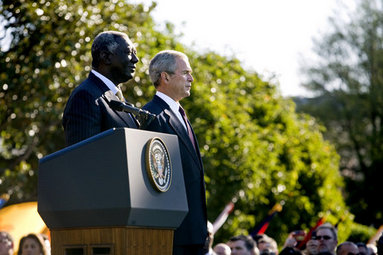 President George W. Bush stands with President John Agyekum Kufuor of Ghana Monday, Sept. 15, 2008, during a South Lawn Arrival Ceremony for the African leader at the White House. White House photo by David Bohrer