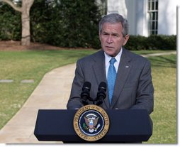 """President George W. Bush delivers a statement on FISA, the Foreign Intelligence Surveillance Act, Thursday, March 13, 2008, on the South Drive of the White House. In urging Congress to act, the President said, """"The American people understand the stakes in this struggle. They want their children to be safe from terror. Congress has done little in the three weeks since the last recess, and they should not leave for their Easter recess without getting the Senate bill to my desk.""""  White House photo by Chris Greenberg"""