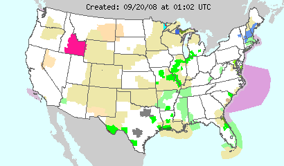 This image displays watches, warnings, statements and advisories issued by the National Weather Service